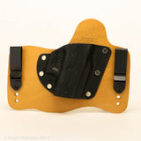 Carbon Fiber Black Kydex Pattern on Natural Leather Hybird Holster