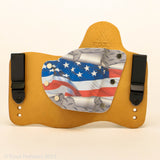 Diamondplate Flag Kydex Pattern on Natural Leather Hybird Holster