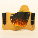 Flames Kydex Pattern on Natural Leather Hybird Holster