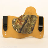 Rustic Camo Kydex Pattern on Natural Leather Hybird Holster