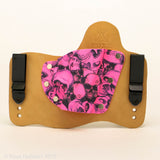 Pink Skullz Kydex Pattern on Natural Leather Hybird Holster