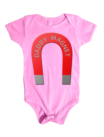Daddy Magnet Graphic on a Baby Onesie