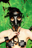 Sexy girl wearing gas mask and black tape