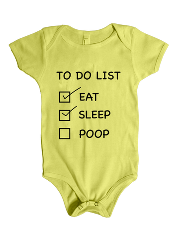 To Do List - Baby Shower Gag Gift Onesie