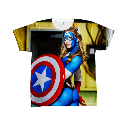 Female Captain America Cosplay T Shirt