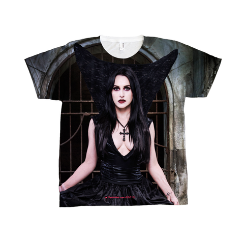 See vampire gothic dressed girl in front of crypt