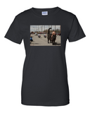 Naked Girl Riding a Cat T Shirt