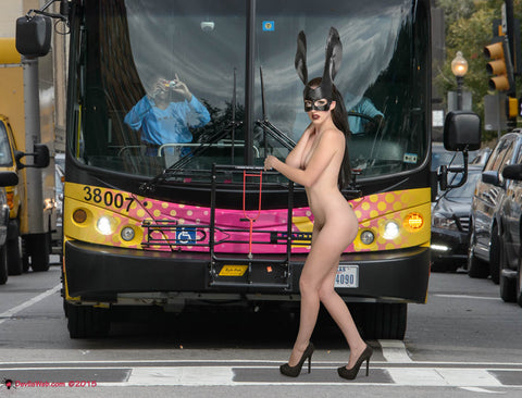 Naked Girl in Bunny Mak Crossing Street
