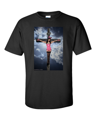 Girl in bunny costume being crucified