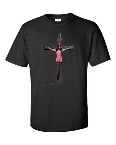 Girl in sexy bunny costume being crucified
