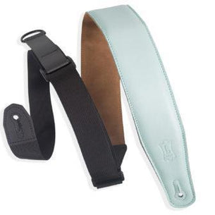 "2.5"" Garment Leather Padded Guitar Strap, Light Blue/Aqua"