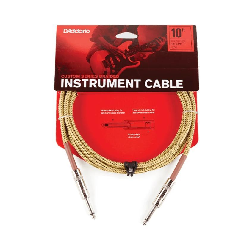D'Addario Custom Series Braided Instrument Cable, Tweed, 15'