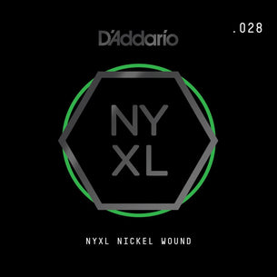 D'Addario NYXL Nickel Wound Electric Guitar String | .028 String
