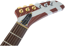 EVH Striped Series Shark, Burgundy With Silver Stripes