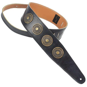 Henry Heller Concho Medallion Leather Guitar Strap | Black