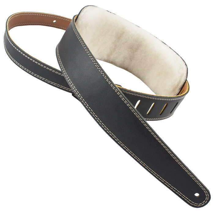 Henry Heller Wool Padded Leather Guitar Strap | HPWL-BLK