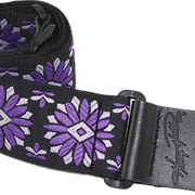 Henry Heller Woven Purple & White Floral Jacquard Guitar Strap