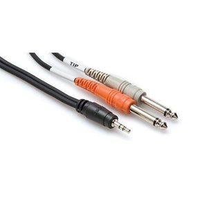 "Hosa CMP 159 | Stereo Breakout Cable | 3.5 mm TRS to Dual 1/4"" Inch TS 