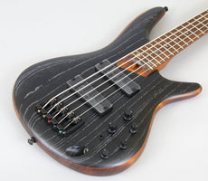 Ibanez SR675 5-String Bass Guitar | Silver Wave Black