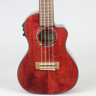Lanikai Quilted Maple Concert Uke W/ Preamp | Red Stain