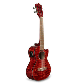 Lanikai Quilted Maple Tenor Ukulele W/ Preamp | Red Stain