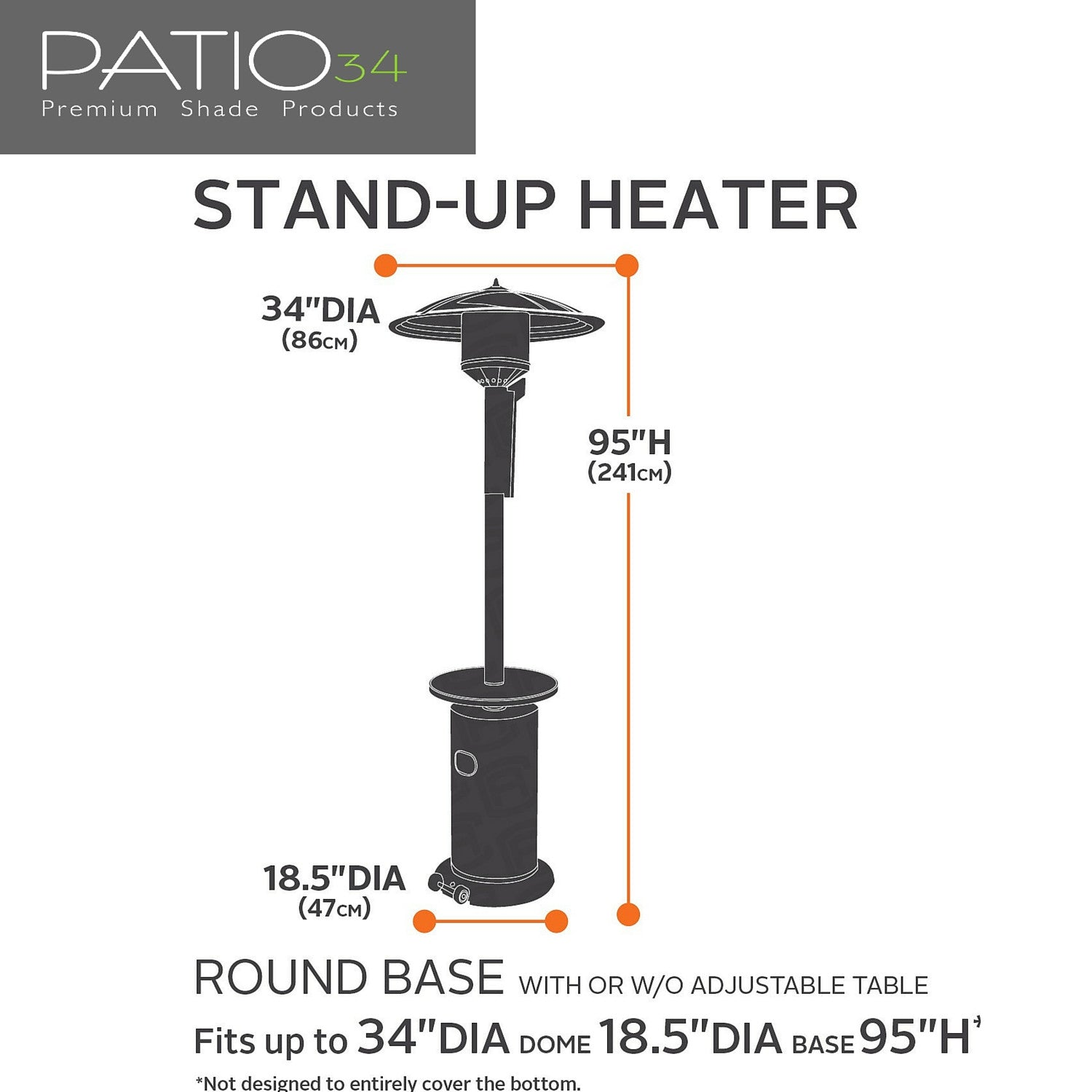 Premium Stand Up Patio Heater Cover   Beige