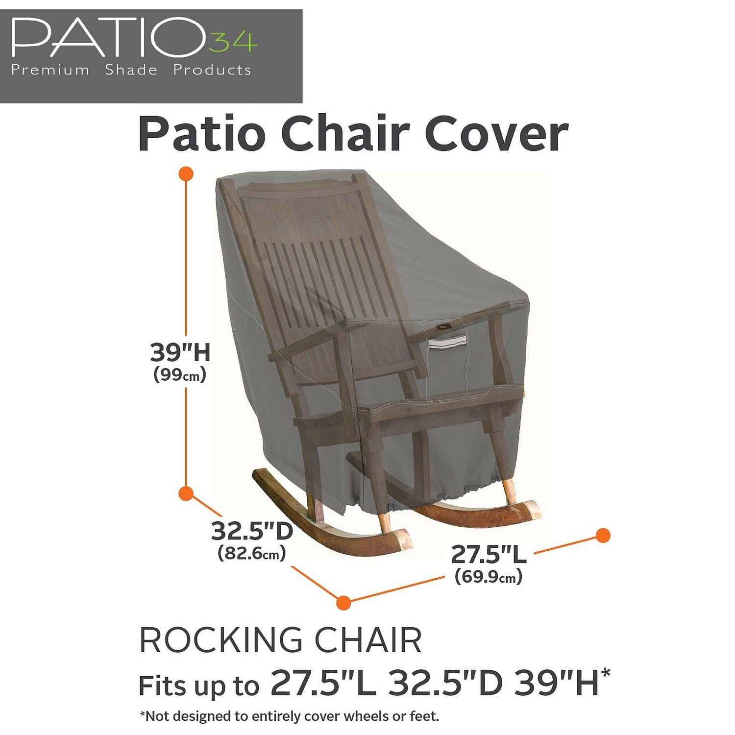 Premium Rocking Chair Cover Charcoal Patio34