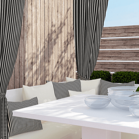 Sunbrella® Tab Top Outdoor Curtain | Stripe Collection