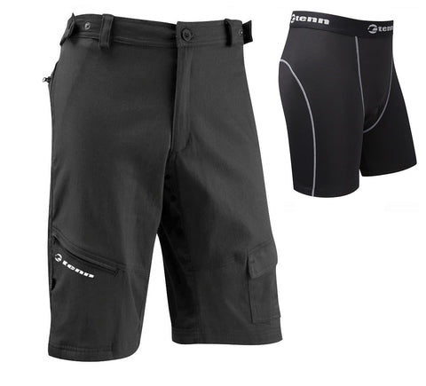 Tenn Men's MTB Cycling Shorts + Coolflo Padded Boxers Combo