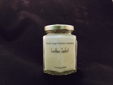 Leather Jacket Hex Jar Candle