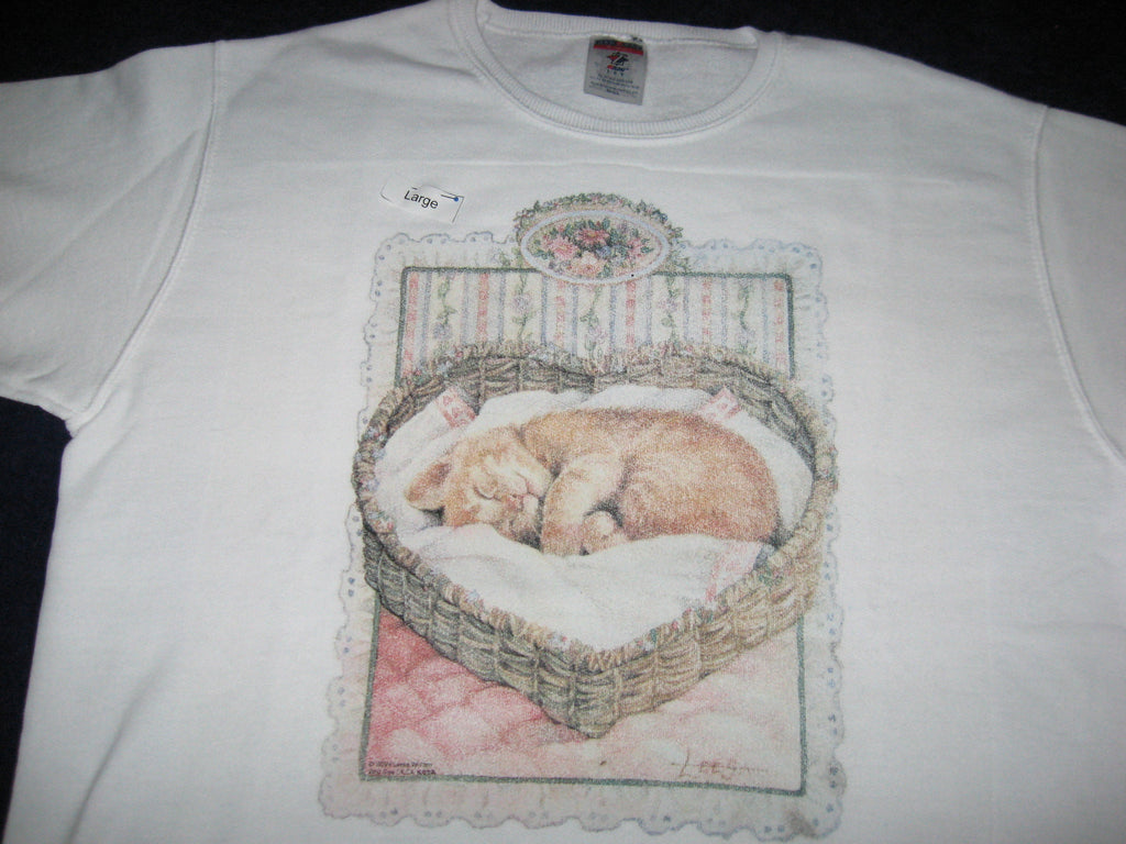 Sweatshirt, Women's, White, imprinted with Sleeping Cat in Heart Basket - Arabian Knights Costumes