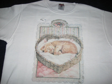 Sweatshirt, Women's, White, imprinted with Sleeping Cat in Heart Basket