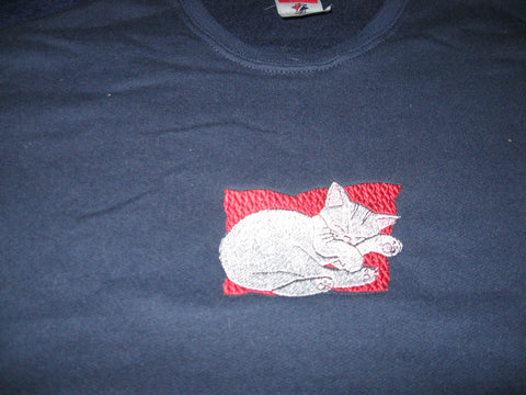 Sweatshirt, Women's, Jerzees 50/50 blend, embroidered sleeping cat