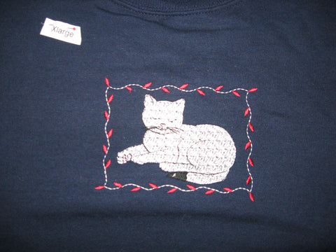Sweatshirt, Navy, Women's Jerzees 50/50 blend, embroidered with napping cat