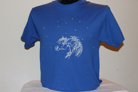 T-Shirt -- Arabian horse -- with CHRYSTALS