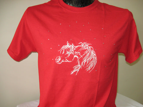 T-Shirts -- Arabian horse -- with CRYSTALS