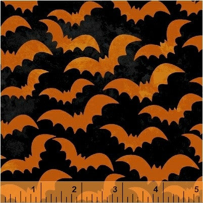 Eat Drink & Be Scary - Orange Bats - Windham Fabrics