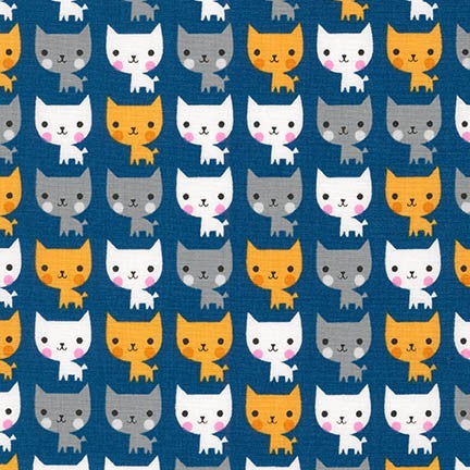 Suzy's Minis Cats on Navy - Robert Kaufman