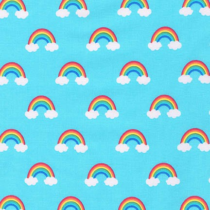 rainbows and clouds on blue quilting cotton fabric