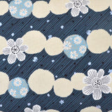 flowers on a charcoal grey oxford cotton fabric with metallic silver