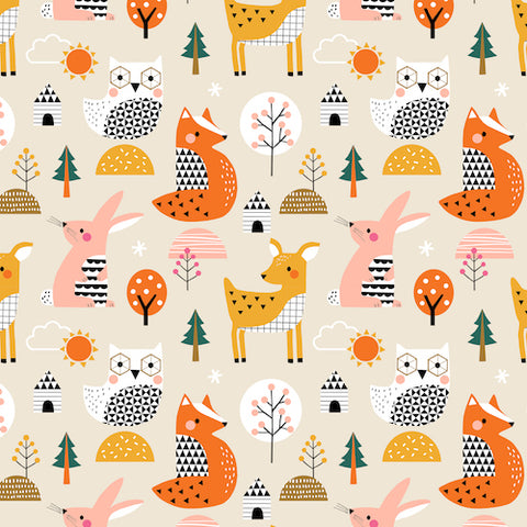 Woodland animals from dash wood studio on quilting cotton