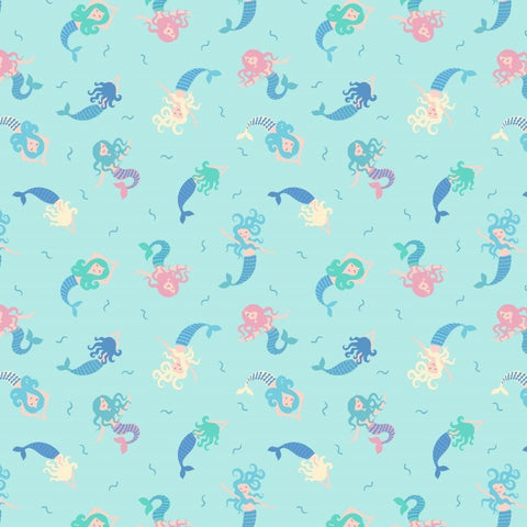 Mermaids on blue quilting cotton with metallic blue