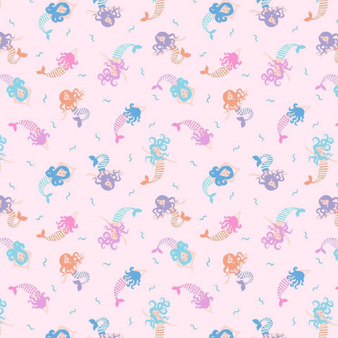 Mermaids of pale pink quilting cotton with metallic silver