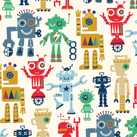 funky fun robots on cream cotton fabric