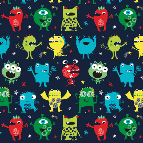funky little space aliens on cotton quilting fabric