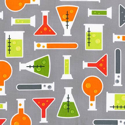 Test Tubes - Grey - Science Fair - Robert Kaufman - Illustration Ink - Robert Kaufman - Fabric Punk