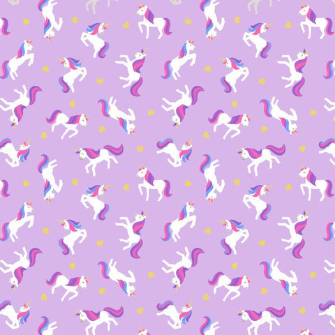 Unicorns of purple quilting cotton with metallic gold accents