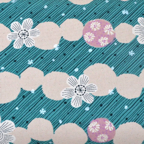 flowers with metallic silver on jade green oxford cotton fabric