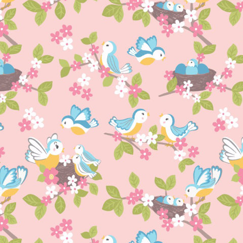 Sweet little bluebirds on pale pink woven cotton fabric