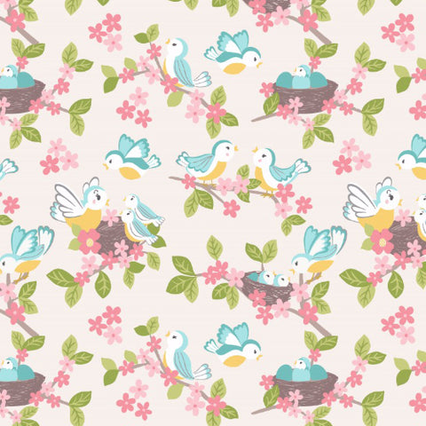 Sweet little bluebirds on cream woven cotton fabric